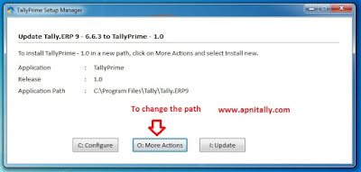 Change path of Tally Prime Installation