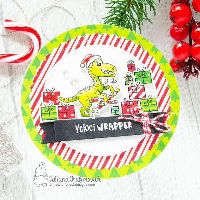 Dinosaur Christmas Card by Tatiana Travimovich | Prehistoric Christmas Stamp Set, Circle Frames Die Set and Banner Trio Die Set by Newton's Nook Designs