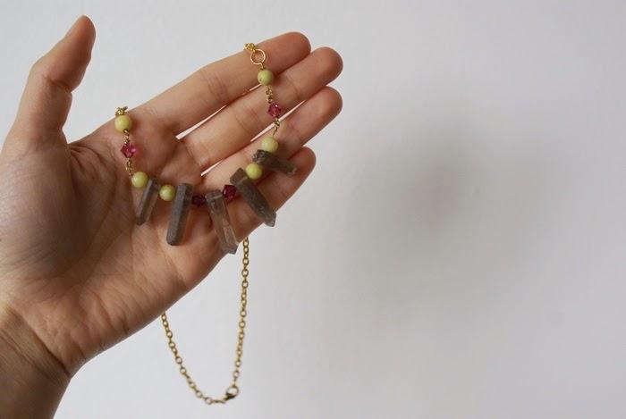 necklace quartz crystals bohemian jewelry