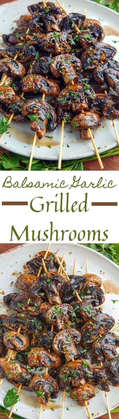 Balsamic Garlic Grilled Mushroom Skewers #food #healthydinner