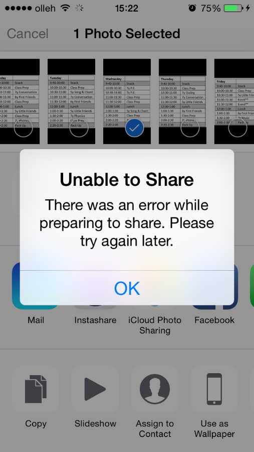 """Iphone 6 Unable To Share Photos, Says """"There Was An Error"""