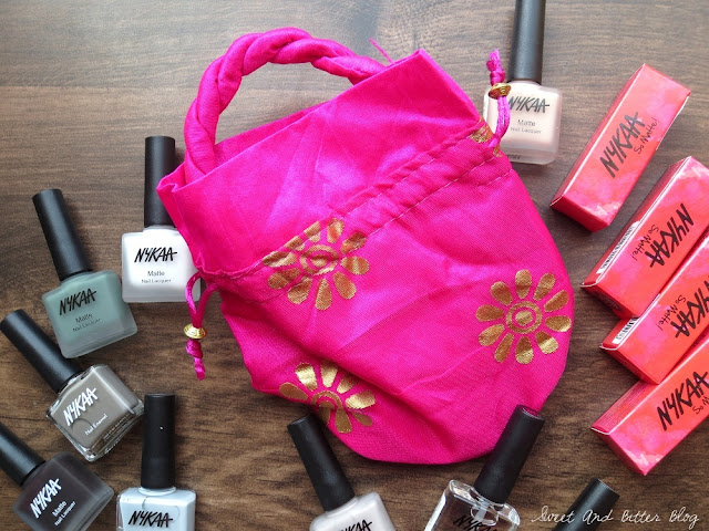 Pink and Gold Nykaa Batua Style Pouch