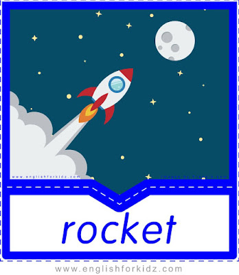 Rocket printable transportation flashcard with picture