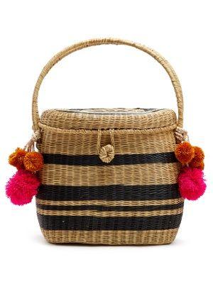 wiklinowa torebka z pomponami