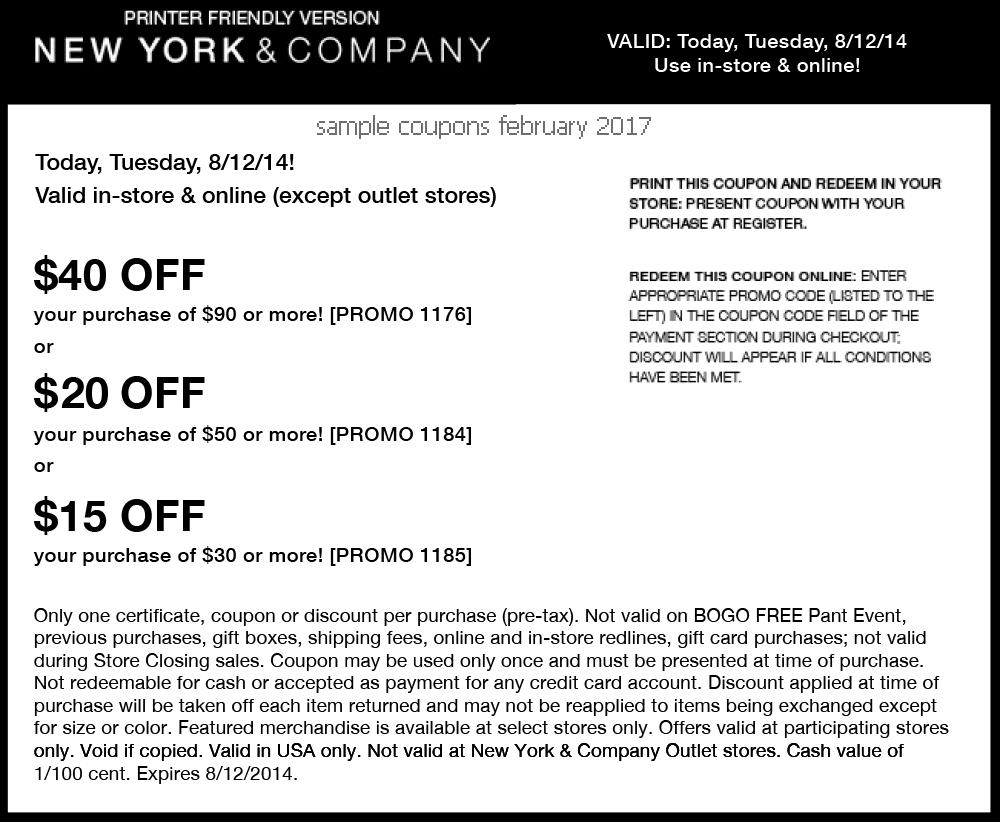 New york and company coupon codes may 2018