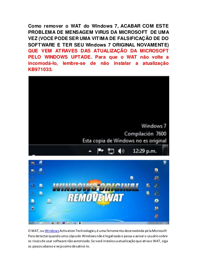Como Remover o WAT Do Windows 7E TER SEU Windows 7 ORIGINAL NOVAMENTE