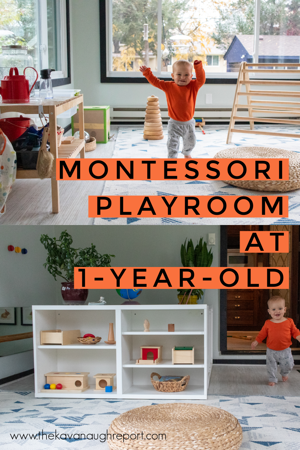 A Montessori toddler space for 1-year-olds, here is how we transitioned away from our Montessori baby movement area and into a larger play space.