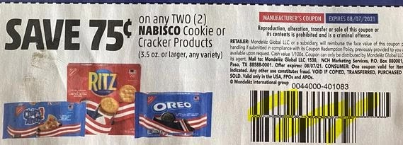 """$0.75/2 Nabisco Cookies or Cracker Products 3.5oz+ Coupon from """"SMARTSOURCE"""" insert week of 6/27/21. (exp. 8/7)"""