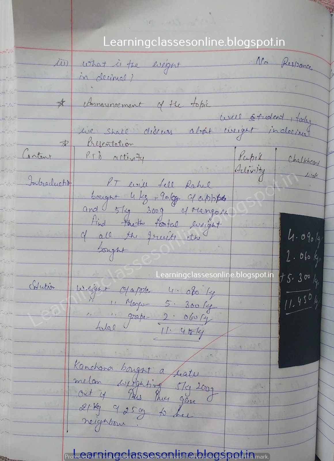 Lesson Plan Format For Mathematics,