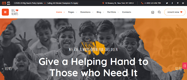 Nonprofit Fundraising & Charity WordPress Themes  With Donation System   BigHearts