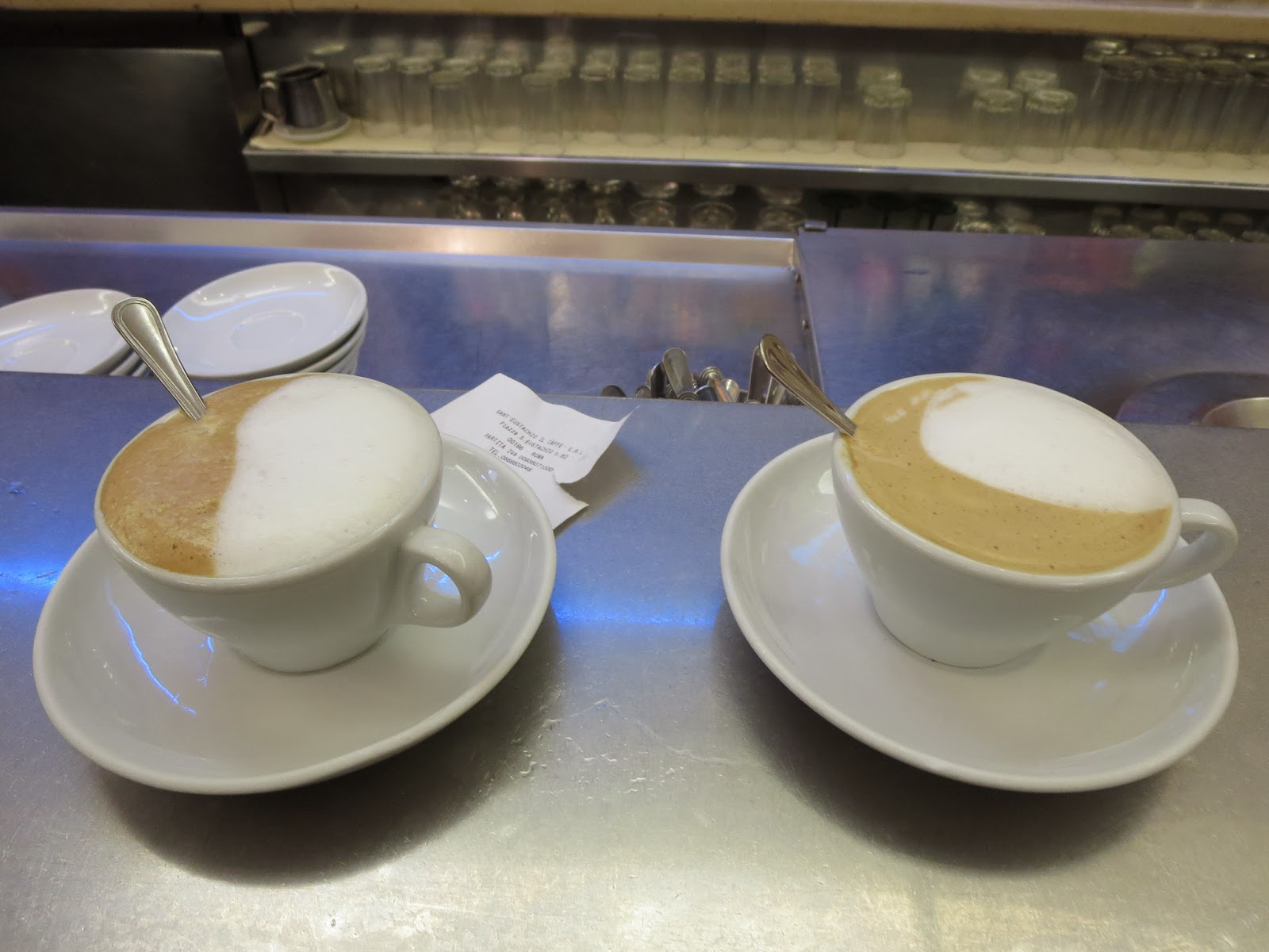 2 coffees at Sant'Eustachio Il Caffè in Rome, Italy
