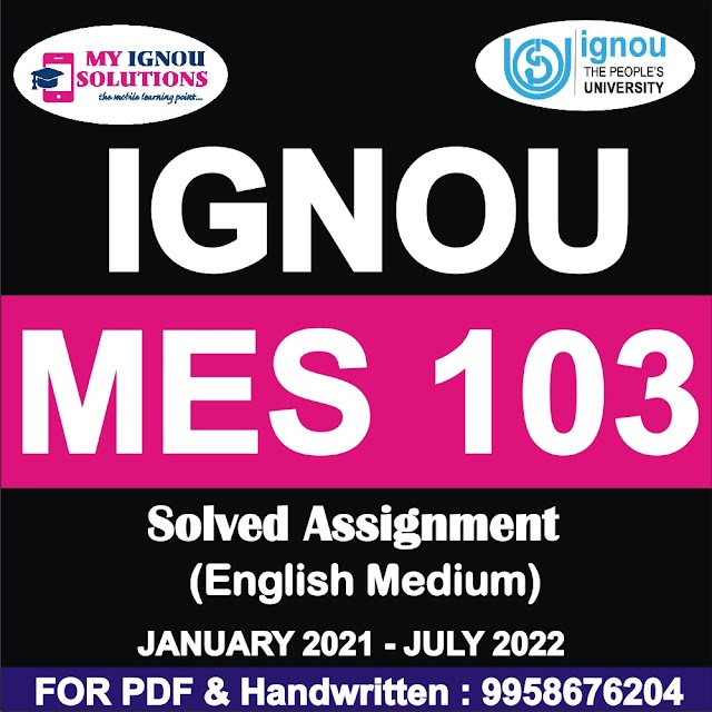 MES 103 Solved Assignment 2021-22