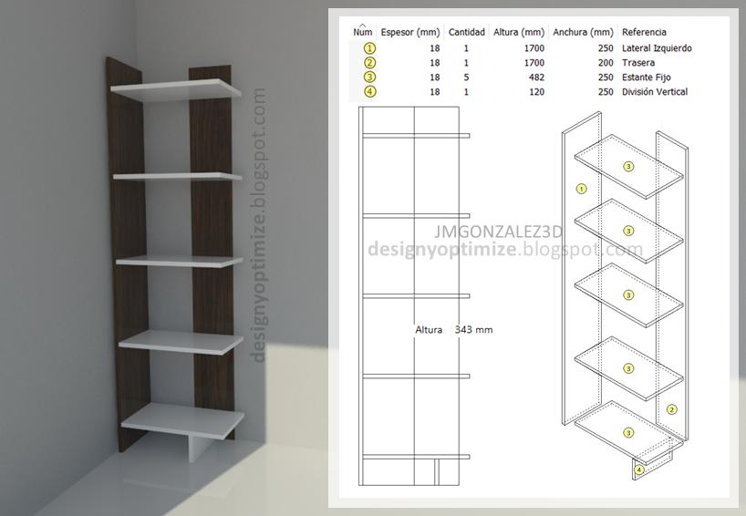 Dise o de muebles madera biblioteca irregular moderna for Muebles izquierdo