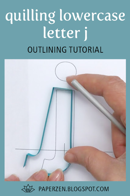 quilling lowercase letter j - how to outline monogram tutorial and pattern
