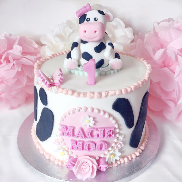Love, Catherine | Cow Themed Birthday Cake