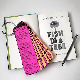 The novel 'Fish in a Tree' open to the cover page with a ring of bookmarks laying across it by Fifth in the Forest on Teachers Pay Teachers