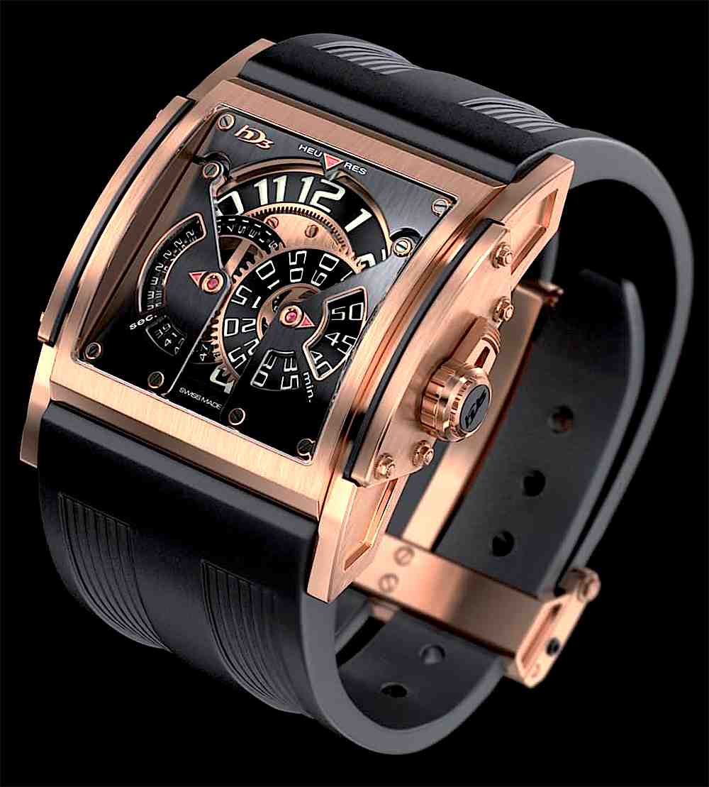 a Swiss watch in copper and black, set to 12 o'clock