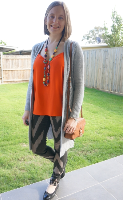 wool cardigan with neon orange cami colourful statement necklace printed jeans SAHM style | away from blue