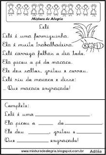 Pequenos textos para alfabetização com formiga