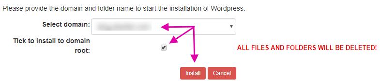 Choose Domain To Install WordPress On Sentora