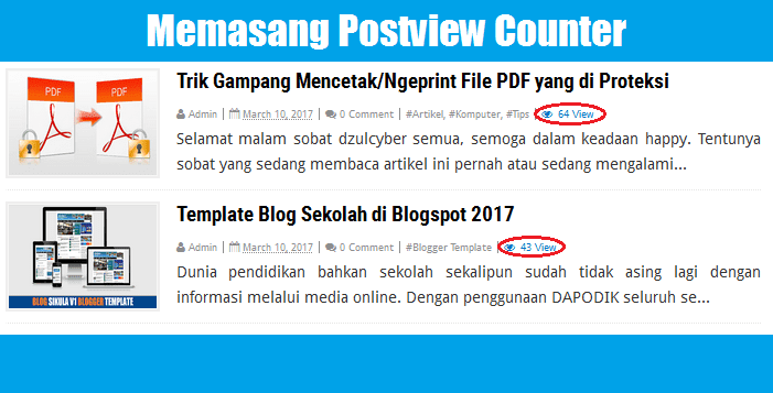 memasang postview counter di blogger