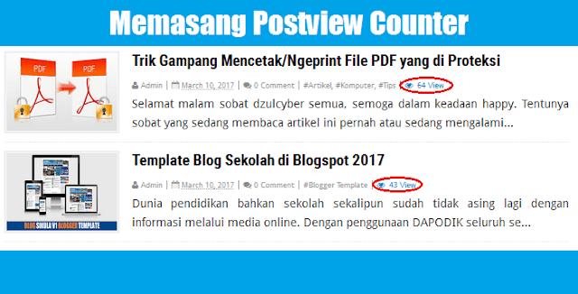 Cara Pasang/Menampilkan Counter Postview di Blogspot