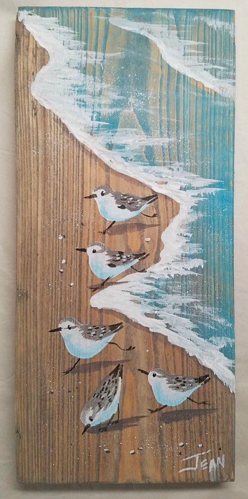 Sandpiper Art Painting on Wood Plaque