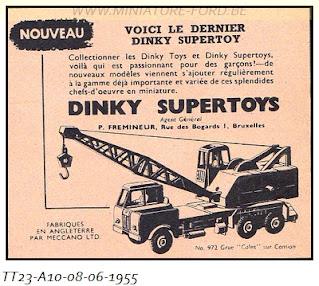 Dinky Toys, publicités de l'année 1955, réf:TT 23