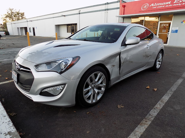 2014 Hyundai Genesis Coupe with damaged fender, door & quarter panel before repairs at Almost Everything Auto Body