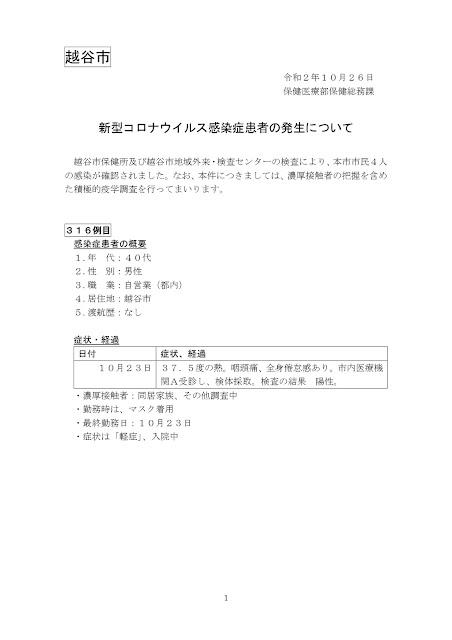 新型コロナウイルス感染症患者の発生について(10月26日発表)