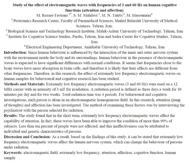 Summary of study on the effect of electromagnetic waves on human cognitive behaviour