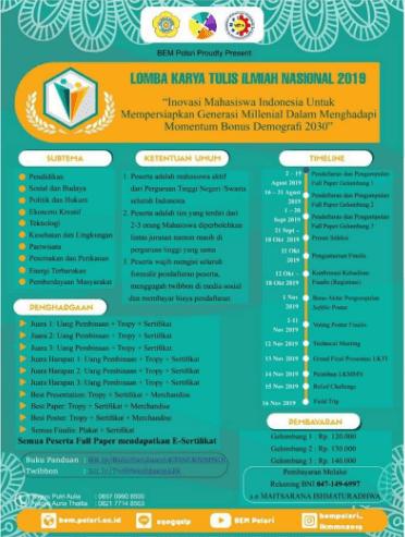 Lomba Karya Tulis Ilmiah Nasional LKMMN IX Polsri 2019 Untuk Mahasiswa