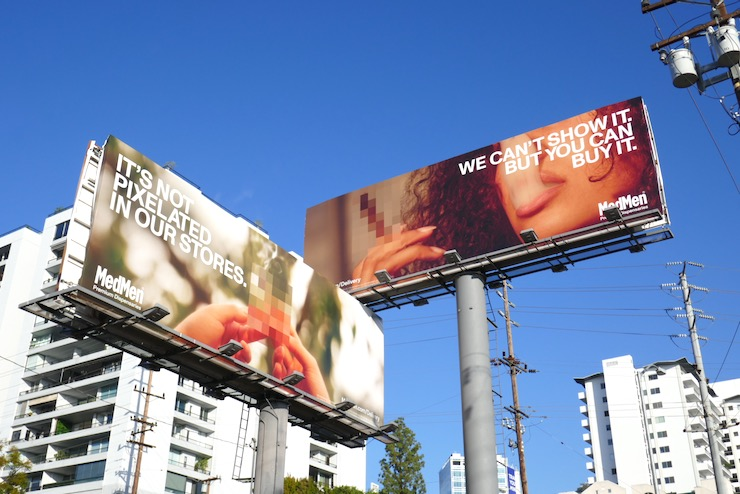Pixelated MedMen cannabis billboards
