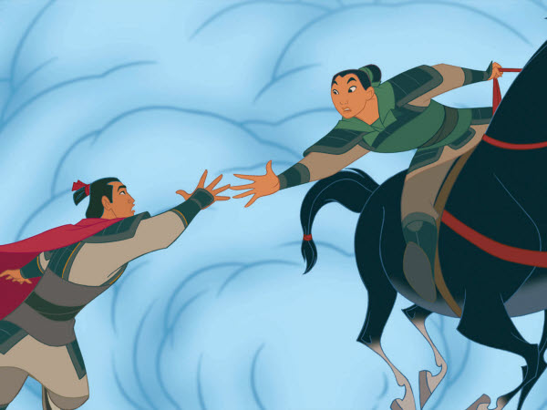 Mulan holding hand to Li Shang Mulan 1998 animatedfilmreviews.filminspector.com
