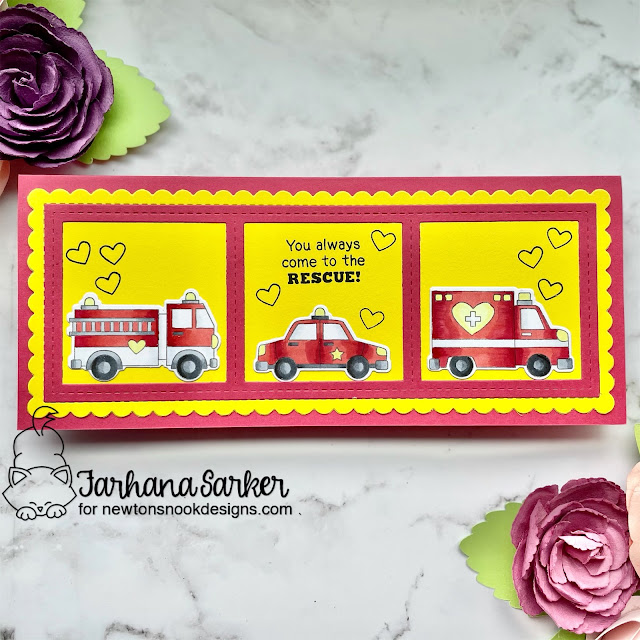 Emergency vehicles Valentine card by Farhana Sarker | Love Emergency Stamp Set, Slimline Frames & Windows Die Set, and Slimeline Frames & Portholes Die Set by Newton's Nook Designs