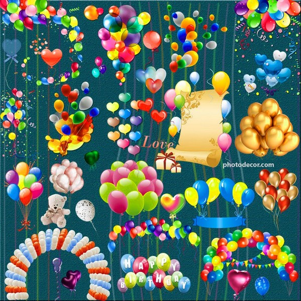 Birthday celebration balloons png