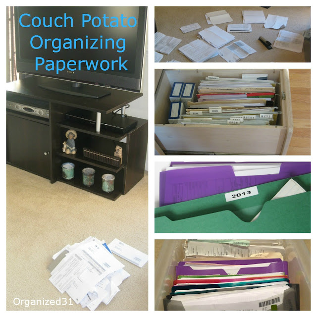 Organized 31 - Couch Porato Organzing Paperwork