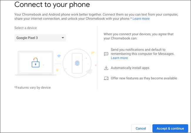 حدد هاتف Android للاتصال بجهاز Chromebook