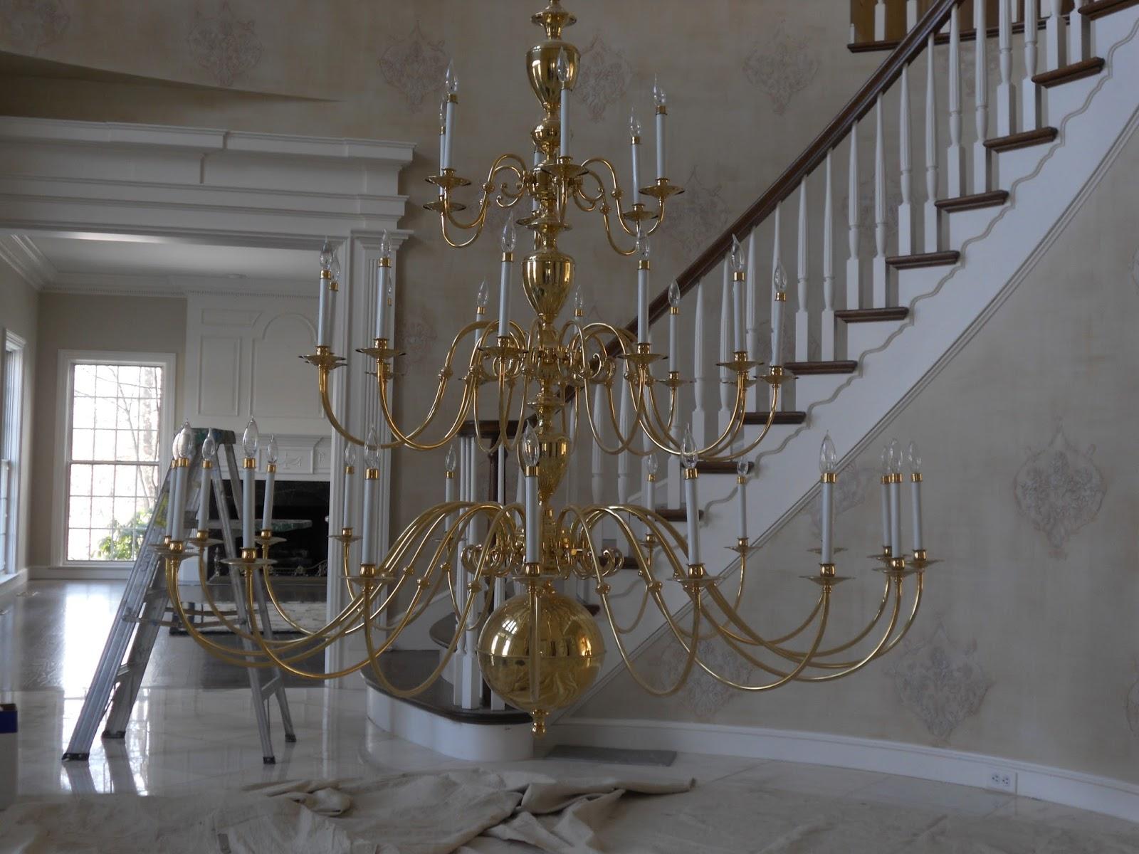Refinish Bright Brass Chandelier