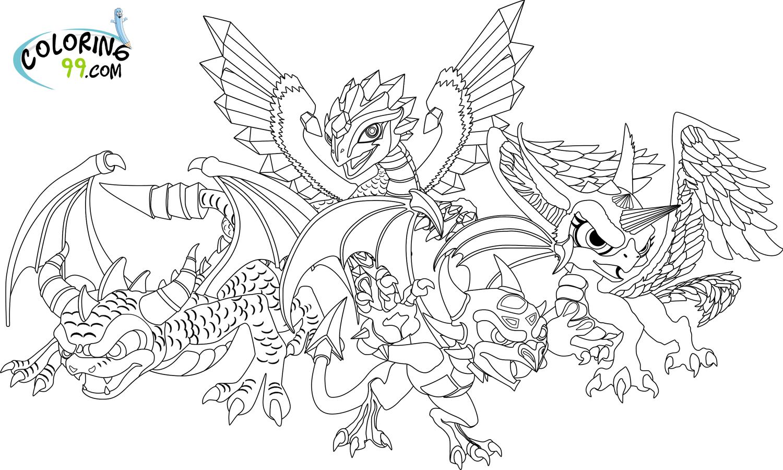 Skylanders Dragons Coloring Pages Team Colors