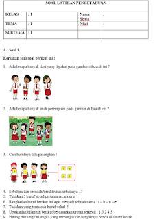 Soal Kelas 1 SD Kurikulum 2013 Revisi Semester 1