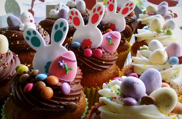 lots of Easter cupcakes with bunny rings
