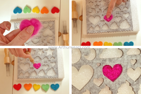 step by step to make needle felted hearts placing the roving wool in the template