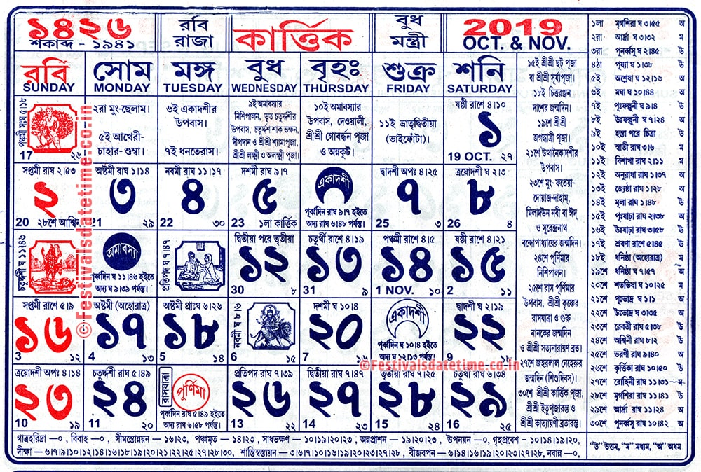 1426 Kartik Panji Calendar, 1426 Bengali Panji Calendar Download in PDF