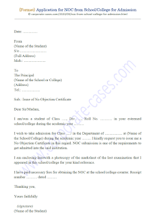 no objection certificate for college admission