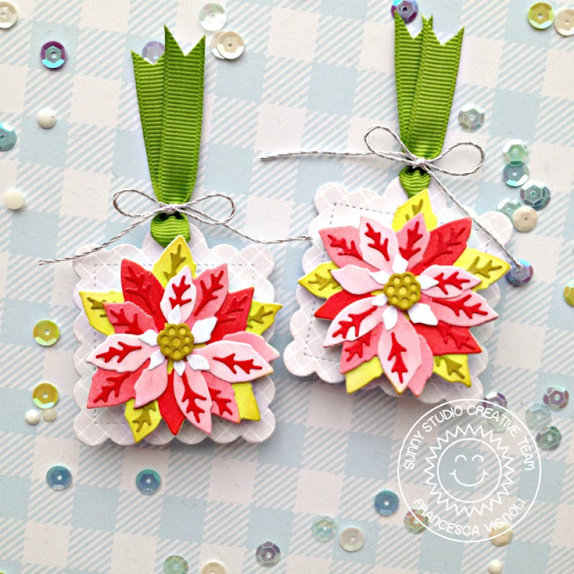 Sunny Studio Stamps: Layered Poinsettia Dies Scalloped Tag Dies Elegant Christmas Tags by Franci Vignoli