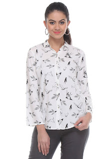 Bird Print W White Tunic by FashionDiya
