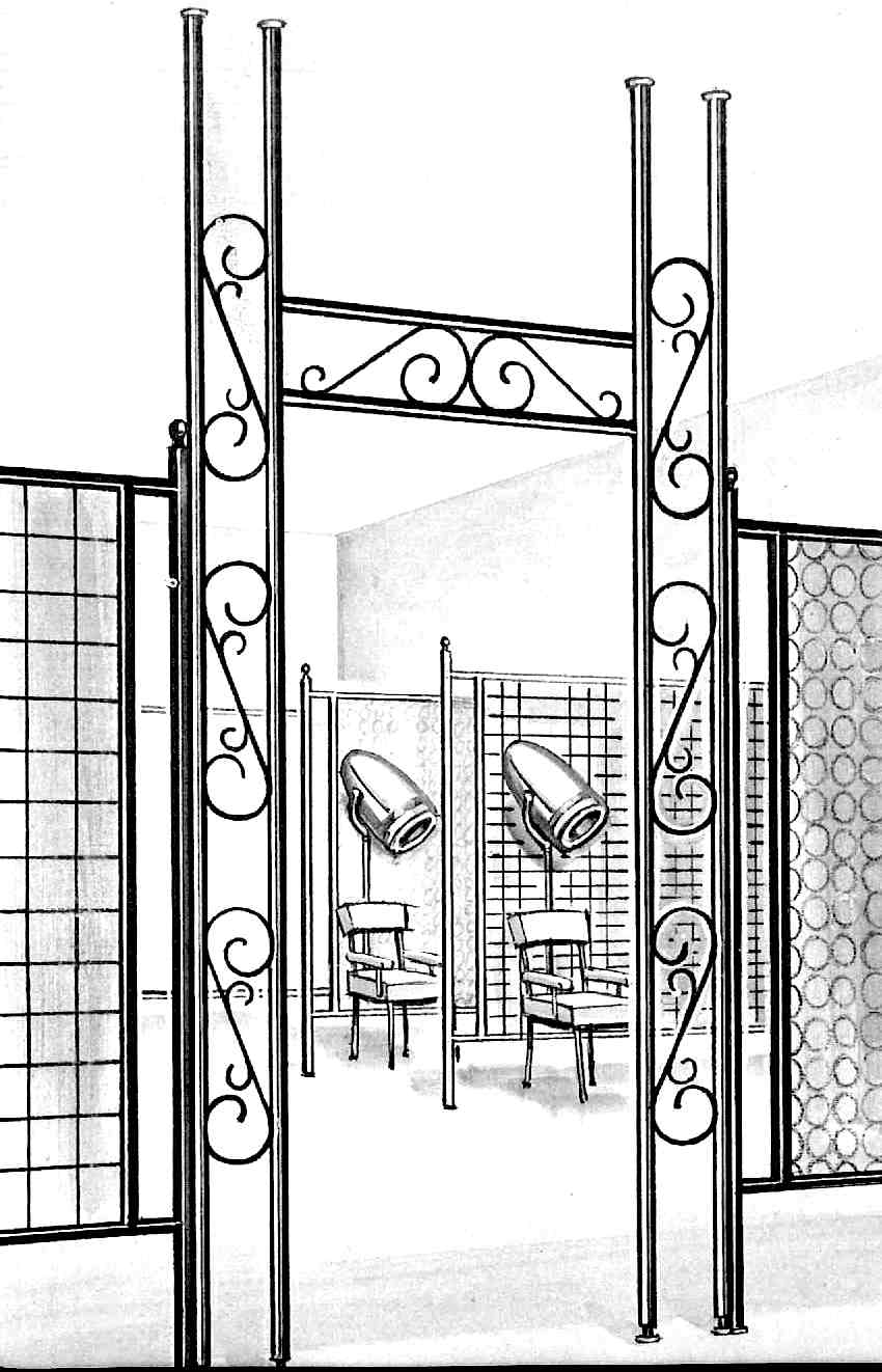 A 1960 metal and glass space divider illustration
