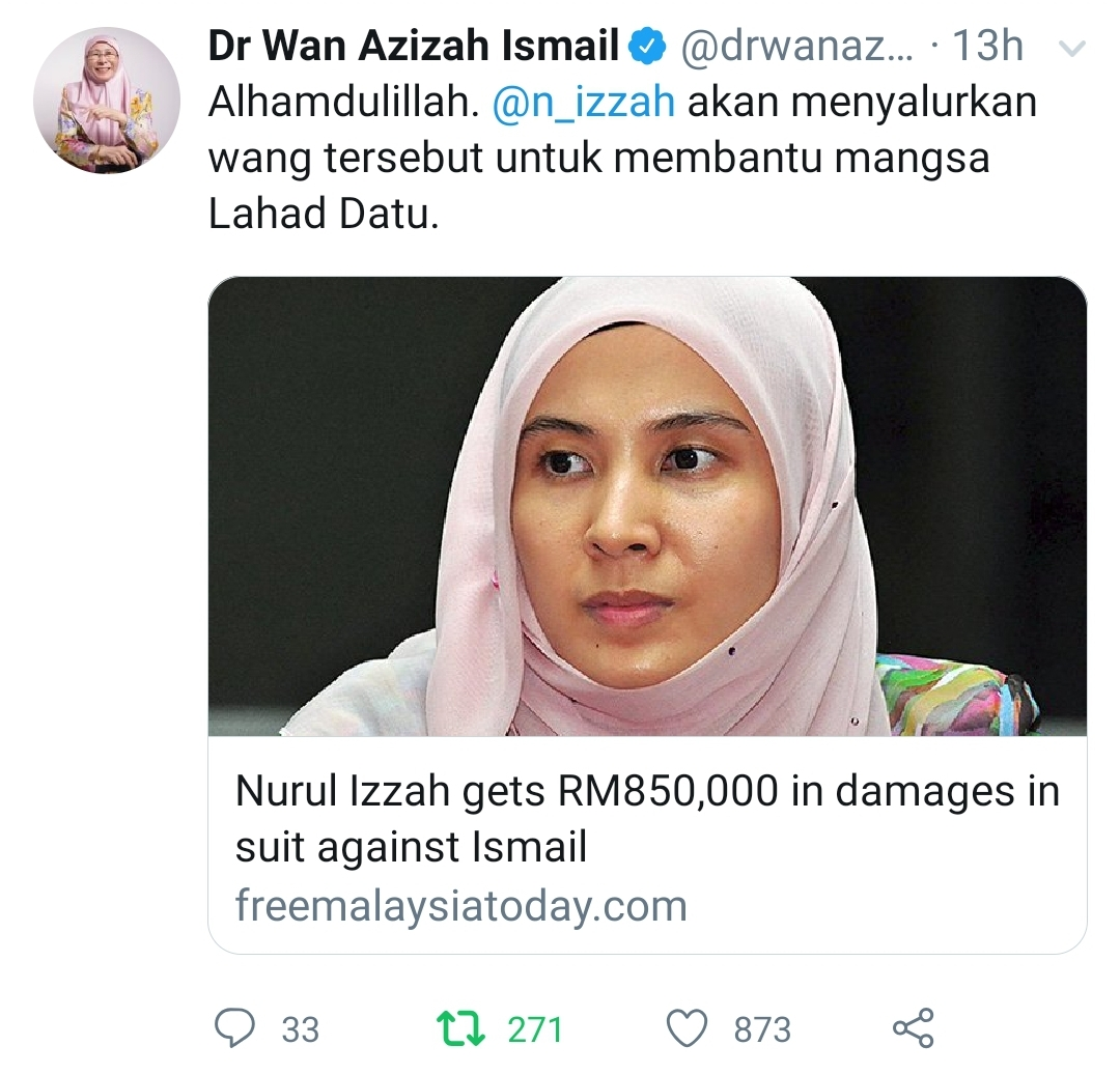 Nurul Izzah menang saman RM850,000