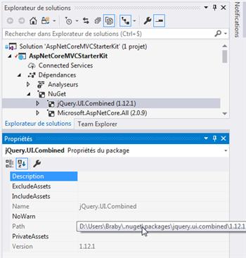 ASP.NET Core - Emplacement des Nugets